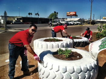 Scrap OTR and truck tires were recycled to serve as planters for Community Tire Pros' community salsa garden, which produced some 400 pounds of free vegetables for local residents.