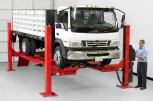 Hunter's four-post 18,000-lb. capacity lift