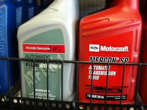 Photo 2: Here again found on a jobber's shelf, the Honda ATF DW-1 and Motorcraft Mercon SP reflect the changing requirements of transmission design and extended service intervals.