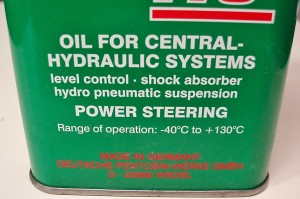 Photo 3: This power steering fluid is designed for some German nameplates. The label on the back of the can warns that this product is not compatible with other power steering fluids.