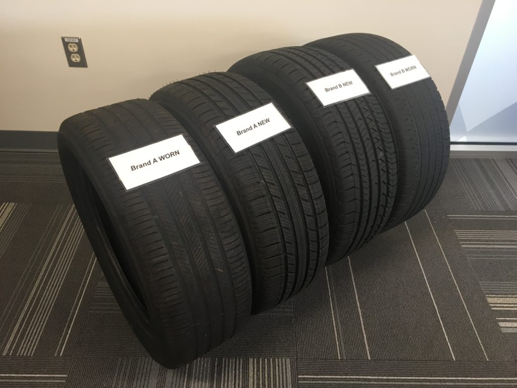 MIchelin worn tires testing competitors