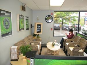 tire pros of ri's association withacccs eco-express store program includes a pleasant customer waiting area that looks more outdoorsy than most tire stores.