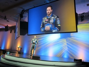 Five-time NASCAR champion Jimmie Johnson greeted the nearly 2,700 dealers and Goodyear staff present at the 2012 conference.