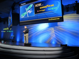 Jack Winterton, president of Goodyear North American Tire's consumer tire group, recounted the rapid growth of Goodyear's Tire & Service Network, which was formally unveiled at last year's meeting.