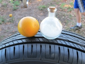 Orange oil resin (right) allows chemists more options to tweak performance, resulting in a tire with lower rolling resistance, greater traction and longer wear, according to Yokohama.