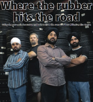 Inderjit Dhugga, CEO of New Millennium Tire Centre (foreground), and his team have made a huge impact in the truck tire market and across his adopted homeland.