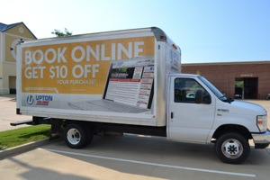 opportunities to make an impression are not wasted, as upton tire pros rolling billboard and delivery truck testifies.