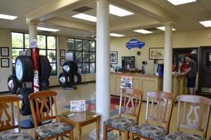 upton tire pros headquarters store in madison, miss., features a bright, spacious showroom and waiting area. tire displays are always clean and uncomplicated.