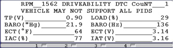photo 2: the low barometric frequency on this scan tool might be indicative of a restricted exhaust.