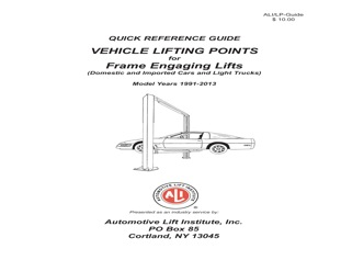 latest lift point guide released by ali tire review magazine rh tirereview com Challenger Lift Adapters 2012 Ford Escape